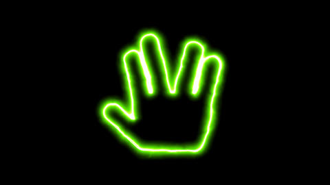 The appearance of the green neon symbol Live long and prosper. Flicker, In - Animation