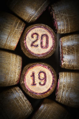 Wooden lotto kegs with numbers 20 and 19 as symbol of 2019 year Fotografía