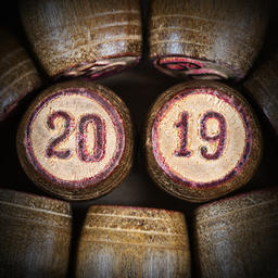 lotto kegs with two numbers 20 and 19 as symbol of 2019 New Year Fotografía