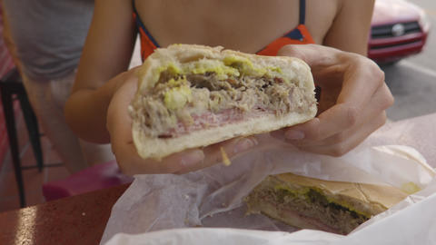 Cuban Sandwich - Traditional Cuban Sandwich with Ham, Pork and Cheese Footage