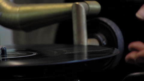 Old Wooden Gramophone. Close-Up GIF