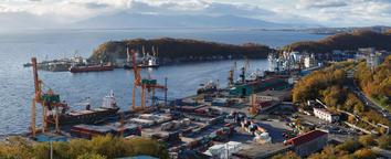 Panoramic view of seaport Petropavlovsk City. Kamchatka Fotografía