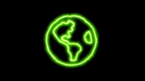 The appearance of the green neon symbol globe americas. Flicker, In - Out. Alpha Animation
