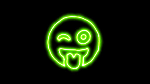 The appearance of the green neon symbol grin tongue wink. Flicker, In - Out. Animation