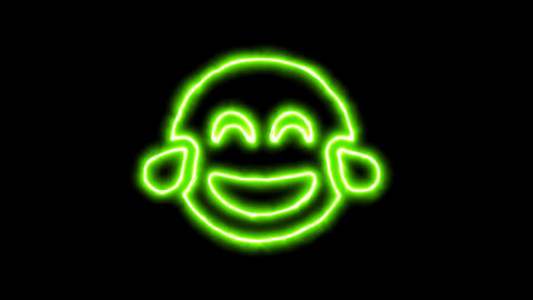 The appearance of the green neon symbol grin tears. Flicker, In - Out. Alpha Animation