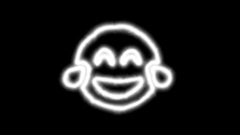 The appearance of the green neon symbol grin tears.... Stock Video Footage