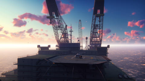 Oil drilling platform, offshore platform, or offshore drilling rig in sea at Animation