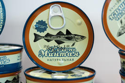 Tin cans natural liver pollock fish at seafood market Photo