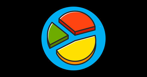 Charts Premium flat icon animated with alpha channel GIF