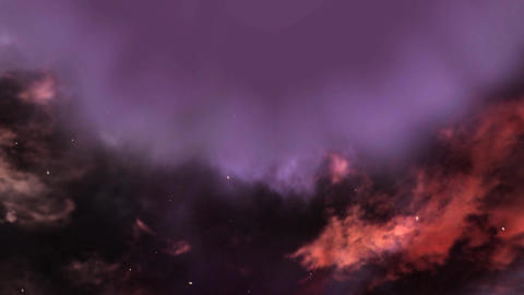 Animated Night sky background with windy flowers arround Animation