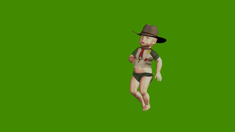 Funny cartoon animated small boy on a green background Animation