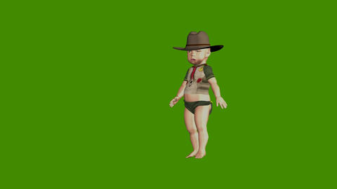 Funny cartoon animated small boy on a green background Stock Video Footage