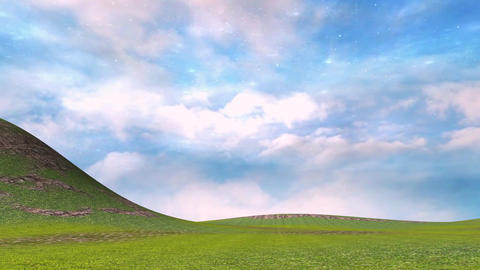Panoramic view of lanscape with moving clouds and green screen Animation