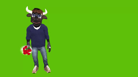 Funny animated cartoon bull with flowers Animation