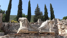 Turkey Ephesus Ephesos Efes antique Greek ruin with cypress trees ビデオ