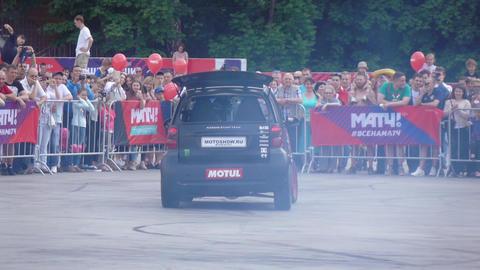 Stuntmen on automobile Footage