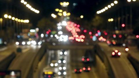 Urban scene blurred night traffic in Barcelona Live Action