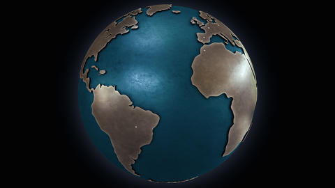 Rotating stylised metallic Earth globe with convex continents Animation