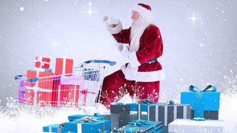 Santa clause reading a wishlist combined with falling snow Animation