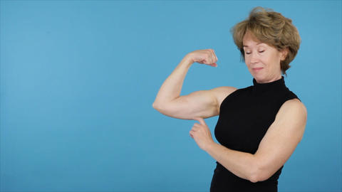 happy strong mature woman Footage