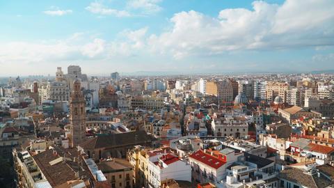 Valencia Skyline Aerial View, time lapse. Valencia , Spain GIF