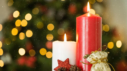 Falling snow and Christmas candles decoration Animation