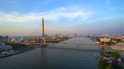 Time lapse of Rama 8 Bridge and Chao Phraya River in structure of suspension Footage