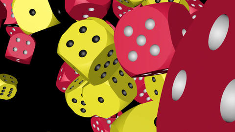 Red and Yellow Color Dice Collided Animation