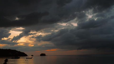Dramatic sunset over tropical sea Footage