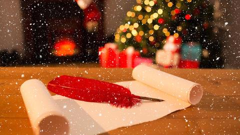 Falling snow and Santa list at Christmas home Animation