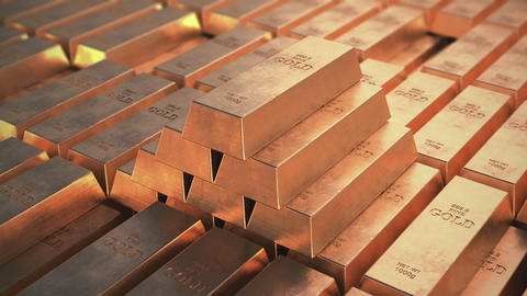 Gold bars. Pyramid from bricks Animation