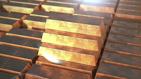 Gold bars. Pyramid from bricks Stock Video Footage
