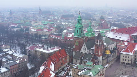 Aerial view of Wawel royal Castle and Cathedral, Vistula River, park, promenade Footage
