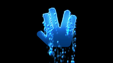 Liquid symbol Live long and prosper appears with water droplets. Then dissolves Animation
