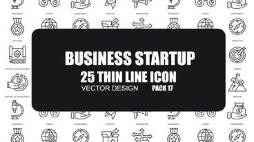 Business Startup - 25 Thin Line Icons After Effects Template