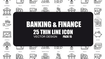 Banking & Finance - 25 Thin Line Icons After Effects Template