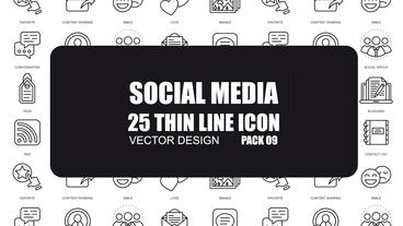 Social Media - 25 Thin Line Icons After Effects Template