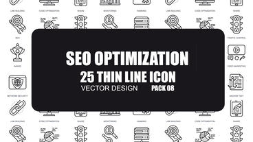 SEO Optimization - 25 Thin Line Icons After Effects Template