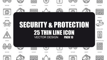 Security and Protection - 25 Thin Line Icons After Effects Template