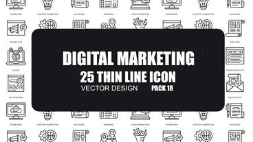 Digital Marketing - 25 Thin Line Icons After Effects Template