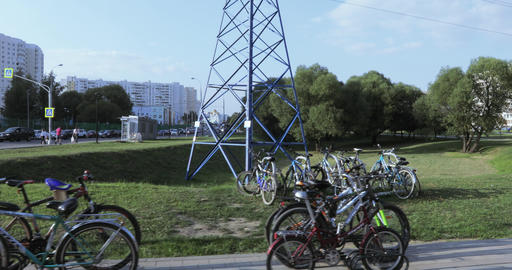 Parking bicycles in the park Footage