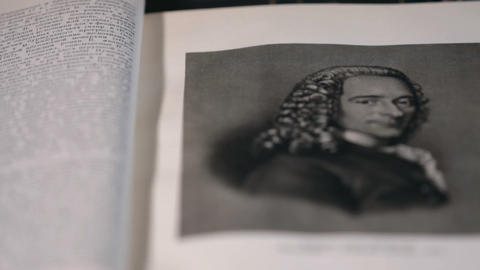 Voltaire the great French philosopher, portrait Footage