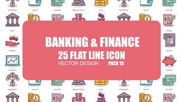 Banking and Finance - 25 Flat Line Icons After Effects Template