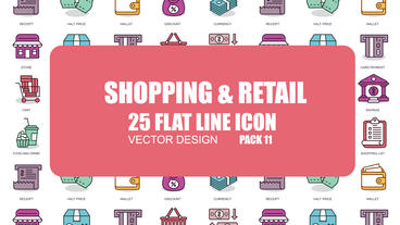 Shopping and Retail - 25 Flat Line Icons After Effects Template