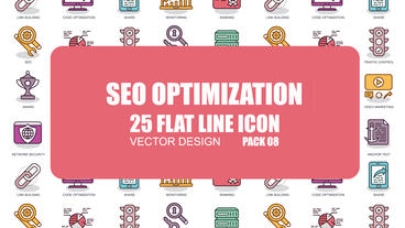 SEO Optimization - 25 Flat Line Icons After Effects Template