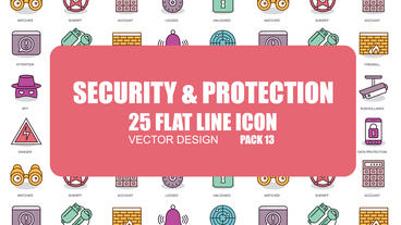Security and Protection - 25 Flat Line Icons After Effects Template