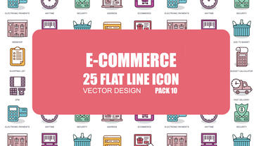 E-commerce - 25 Flat Line Icons After Effects Template