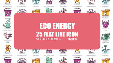 Eco Energy - 25 Flat Line Icons After Effects Template