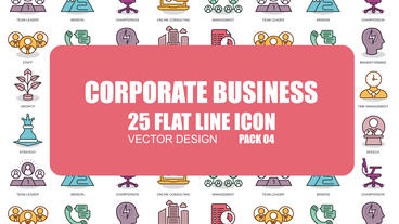 Corporate Business - 25 Flat Line Icons After Effects Template