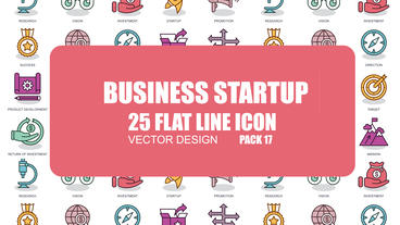 Business Startup - 25 Flat Line Icons After Effects Template